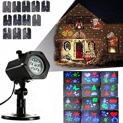 LED Projektionslampe mit 12 Motiven,Gartenleuchte LED Wasserdicht für Innen und Außenbereich Wasserdicht IP65 Gartenleuchte Projektor, Mauer Dekoration, Party Licht, Gartenlicht,Karneval,Weihnachten