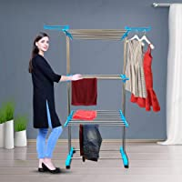 NOYMI jumbo cloth dryer stand Plastic Floor Cloth Dryer Stand Rust-free Stainless Steel Double Pole Cloth Drying Stand…