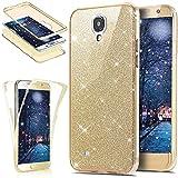 SainCat 360 Grad Silikon Hülle Glänzend Glitzer Komplettschutz Schutzhülle Vorder und Rückseiten Durchsichtig Handyhülle TPU Gel Beidseitiger Weiche Case Schale für Samsung Galaxy S5/S5 Neo (Gold)