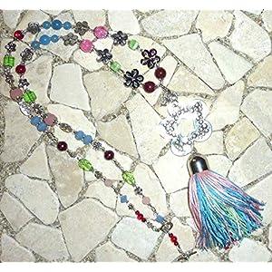 lange Kette FLOWER POWER HIPPIE BOHO IBIZA PEACE – BLUME – rot, grün, pink & blau –
