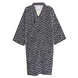 Unisxe Peignoir de Bain Kimono Japonais en Pur Coton Double Femme Homme Chemise de Nuit Lâche Ruban Poncho Plage Piscine Vêtement de Sauna Hydrothérapie Combinaison de Pyjamas, Noir, Taille L