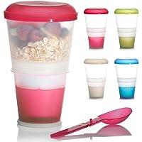 Muesli To-Go Mug pour les déplacements 2-Go Mug de voyage avec compartiment isotherme pour le lait et cuillère pliable…