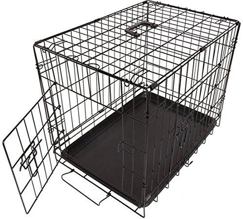 MAXX Hundekäfig mit 2 Türen, Metall, zusammenklappbar - 76 x 53 x 61 cm - Transportkäfig Hundebox Hundekäfig