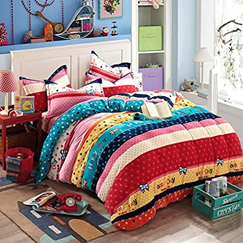 H&C Thicken Flannel 250G 4-Piece Duvet Cover Set With Comforter Twin Size polka-dotted Pattern Red,Pink,Beige and Blue Stripe Background Concise Style by Unknown