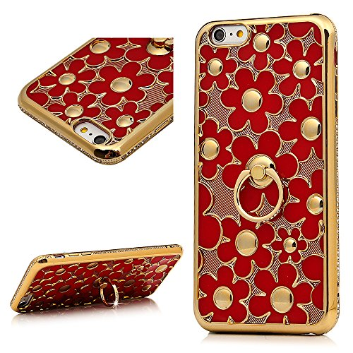 iPhone 6 Plus /6S Plus Hülle YOKIRIN Case Cover für iPhone 6 Plus /6S Plus Case Silikonhülle Chrysanthemum Slim Fit TPU Silikon Handytasche Handyhülle Etui Protective Backcover Schale Handycase mit Di Red