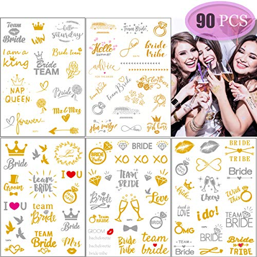 YuChiSX Hen Party Temporäre Tattoos - Gold & Silber Metallic Flash Temporary Tattoo für Bachelorette/Hen Party Favors/junggesellinnenabschied accessoires