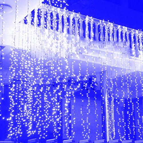 Hunpta 3 * 3M 300 LED String Fenster Vorhang Eiszapfen Lichter Urlaub Weihnachten Hochzeit Garten-Dekor (Blau) (300 Licht-eiszapfen)