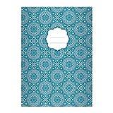 Kartenkaufrausch 4 Schicke Boho Stil DIN A4 Schulhefte, Rechenhefte mit ethno Sternen Muster in blau Lineatur 28 (kariertes Heft)