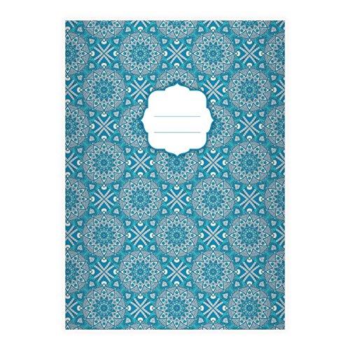 8 Schicke Boho Stil DIN A4 Schulhefte, Rechenhefte mit ethno Sternen Muster in blau Lineatur 23 (kariertes/rautiertes Heft)