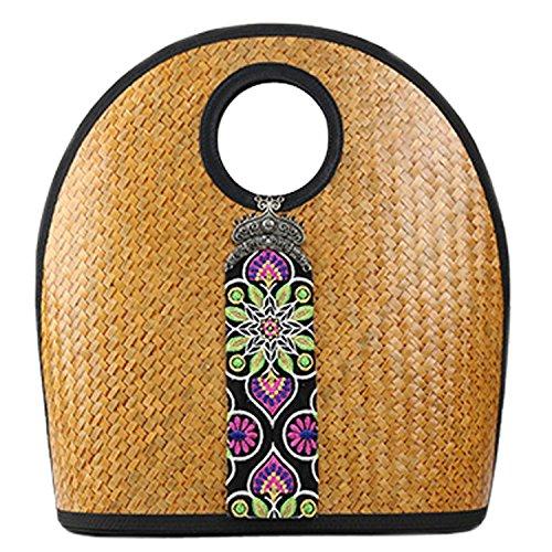 broderie à la main en tricot / armure toile de sac à main de bambou rotin paille / sacoche / Sacs portés épaule / Sacs portés main