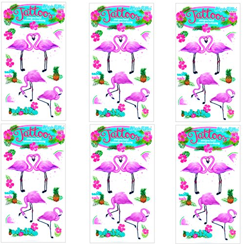 Lutz Mauder 6-teiliges Tattoo-Set * PINK FLAMINGO * vom Mauder-Verlag | Kinder Kindertattoo Tatoo Tatto Kindergeburtstag Geburtstag Mitgebsel Geschenk Mädchen rosa Hawaii