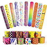 FEPITO Slap Bracelets WristBands for Kids Birthday Party Bag Fillers Party Favours, Slap Wrist Bands With Hearts Animal Emoji Patterns for School Goodie Bag Little Toys Class Rewards