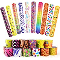 FEPITO 25 PCS Slap Bracelets Slap Wrist Bands with Hearts Animal Emoji Patterns for Kids Birthday Party Bag Fillers School Goodie Bag Little Toys Favours
