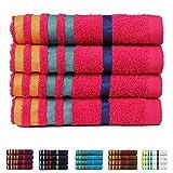 Casa Copenhagen Exotic Kollektion 475 g/m² Baumwolle 4 teiliges Handtücher Set, Hot Rosa