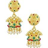 Anuradha Floral Design Matte Gold Finish Jhumki Earring for Girls/Women