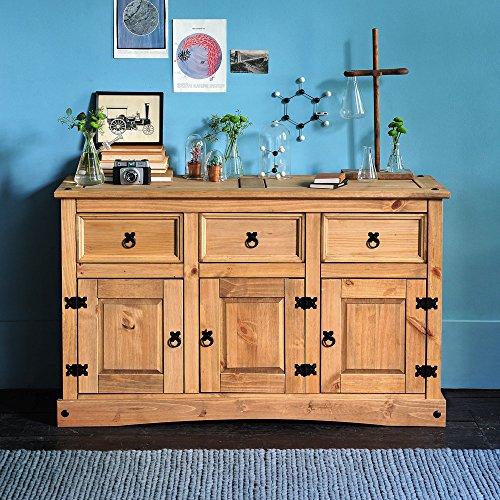 Möbel Anrichte Sideboard Kommode Stil 3 Türen 3 Schubladen gebeizt gewachst (Schrank Esszimmer Kiefer)