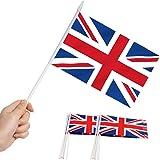 Bandera británica Union Jack Stick, ANLEY Gran Bretaña Mini bandera portátil de 5 x 8 pulgadas (12 x 20 cm) con poste sólido