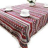 Eureya Wasserdicht Bohemian Fashion Tischdecken Tee Tischdecke Mediterraner Baumwolle Leinen Tischdecke, rot, 120x160cm