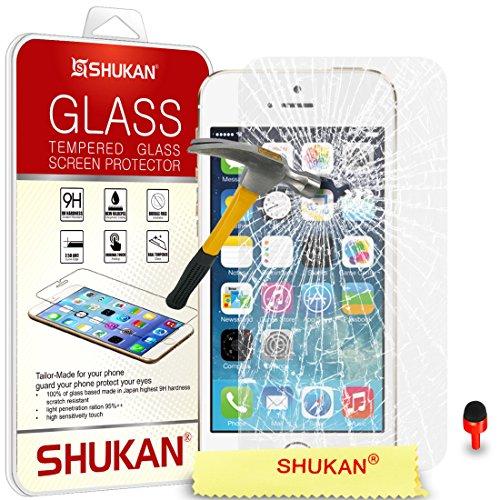 Apple iPhone 5 / 5S Pack 1, 2, 3, 5, 10 Protecteur d'écran & Chiffon SVL0 PAR SHUKAN®, (PACK 5) VERRE TREMPÉ