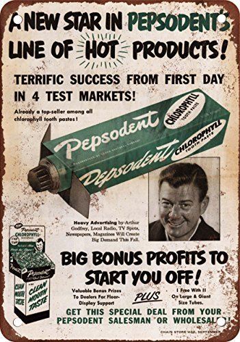 metal-wall-sign-1952-arthur-godfrey-for-pepsodent-vintage-look-reproduction-metal-tin-sign-wall-post