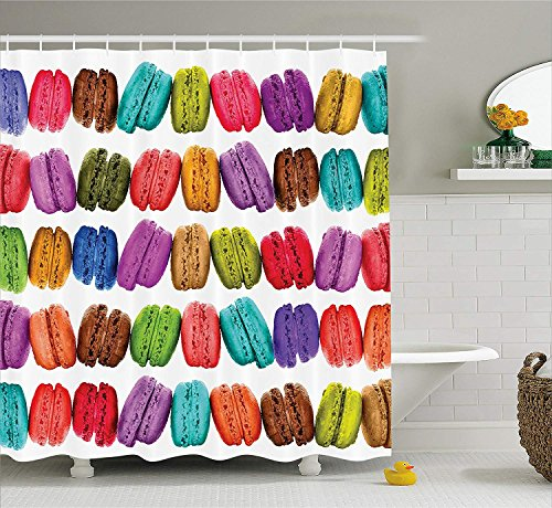 Colorful Home Decor Shower Curtain, French Macarons in a Row Coffee Shop Cookies Flavours Pastry Bakery Design, Fabric Bathroom Decor Set with Hooks, 60x72 inches, Multicolor White