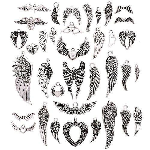 JuanYa - Vintage silver plated angel wings pendant, 36 units, to make jewelry and crafts