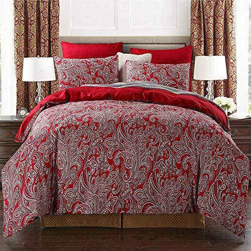 CLEAVE WAVES Boho Paisley Print Luxus Duvet Bettbezug Und Shams Damast Medaillon Ägyptischer Baumwolle Satin Bettbezug Set 4Pcs Burgundy