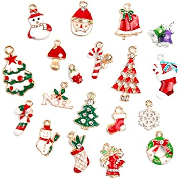 Itemer Set Of 19 Mini Christmas Charms Pendants Jewelry Making