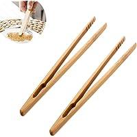 2x Toruiwa Pince à Toasts Pince à Pain Grillé Pince de Cuisine en Bambou pour Grille-Pains Baguettes 18cm