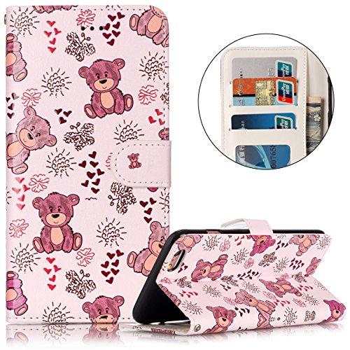 Cover iPhone 6 Plus Pelle, Custodia iPhone 6S Plus PU, Surakey Portafoglio Cover Custodia per Apple iPhone 6 Plus / 6S Plus, Fiore Orso Panda Gufo Lupo Modello Design Magnetico Snap-on Protettiva Bump Orso