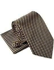 Ondulés rayures zig zag motif tissé de cravate cravate W/Pocket Square & boutons de manchette Set cadeau