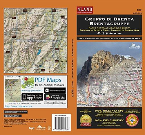 Gruppo di Brenta. Parco naturale Adamello Brenta. Carta escursionistica 1:25.000. Ediz. italiana, inglese e tedesca por Enrico Casolari