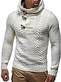 LEIF NELSON Herren-Strickpullover |Strick-Pulli mit Kapuze | Moderner Woll-Pullover Sweatshirt Langarm mit Knöpfen Kleidung Männer