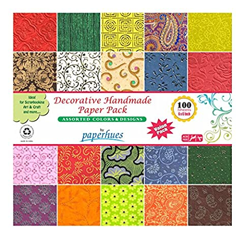 Paperhues Decorative Scrapbook Papers 15.2x15.2 cm Pack, 100 Sheets, Assorted Colors. Forever Collection. Specialty Handmade Origami Papers for Scrapbooking, Decoupage, Cards, Gift Wrap, Art &Craft.
