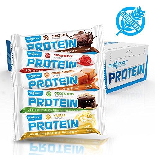 Maxsport nutrition, barretta proteica senza acidi grassi trans e senza glutine, 24pezzi