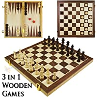 3 in 1 Wooden Compendium Board Game Set Family Games Chess Backgammon Draughts