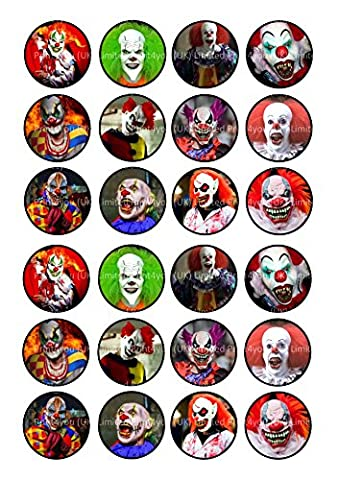 24 Killer clowns Cake Toppers 4cm On wafer rice paper