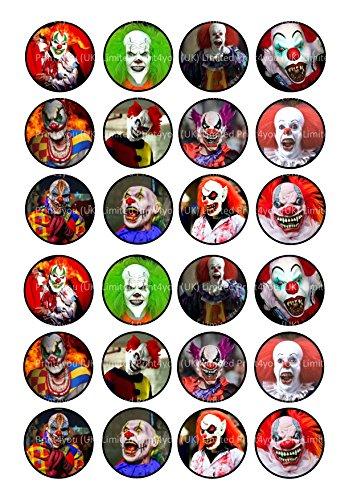 24Killer Clowns Scary Halloween Kuchen Topper 4cm auf Wafer Reispapier (Halloween Insekten Essbare)