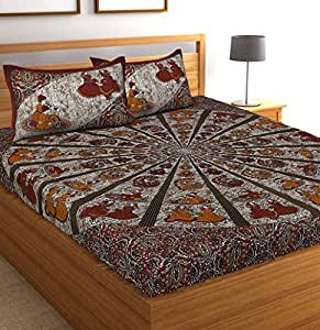 Jaipuri Bedspreads Cotton 144TC Bedsheet (King_Multicolour)