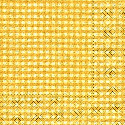 40 Cocktail Servietten Vichy gelb (Vichy yellow)1/4 gefalzt, 3-lagig Größe offen: 25x25 Karo kariert