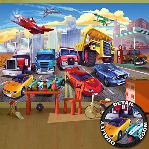 fototapete kinderzimmer jungen great-art Fototapete Autorennen Comic für Kinderzimmer - 336 x 238 cm 8-teiliges Wandbild Kindertapete Wandtapete Kindermotiv Auto und Flugzeug