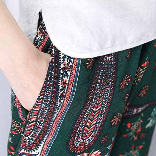 NiSeng Donne Loose Harlan Pantaloni Boemia Stampa Harem Pantaloni Lanterna Pantaloncini Verde