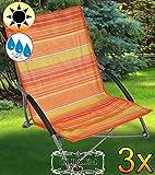 3 x Liegestuhl für Strand, Strandstuhl-Liegesessel, stabile Gartenliege, klappbare Sonnenliege -terracotta-gestreift Saunaliege, tragbar, Strandliege, hochwertig bequem und stabil, Sonnenschutz, Dreibeinliege faltbar, verstellbare Klappliege, anthrazit-metallic silber, Strandliegen, Sonnenliegen, Liegestühle, Gartenstühle, Picknickliegen, Gartenmöbel Holz, Feldbetten
