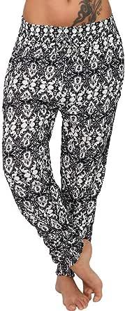 WINJIN Sarouel Femme Pantalon Fluide Ete Trousers Jambe Large Casual Imprim/é Fleuri