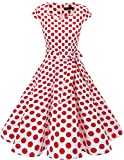 Dresstells Vintage 50er Swing Party kleider Cap Sleeves Rockabilly Retro Hepburn Cocktailkleider White Red Dot XL