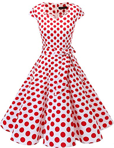 0er Swing Party kleider Cap Sleeves Rockabilly Retro Hepburn Cocktailkleider White Red Dot 3XL ()