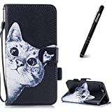 iPhone 7 Plus 5.5 inch Case,iPhone 8 Plus Wallet Case,Slynmax Ultra Slim Lightweight Bookstyle Fashion Curious Cat Pattern Design Flip Folio Phone Cover Premium PU Leather Case Folding with Hand Strap Stand Function Credit Card Holder Cash Pocket Magnetic Closure Multifunctional Anti-Scratch Shockproof Protective TPU Sillicone Inner Smart Shell for Apple iPhone 7 Plus/iPhone 8 Plus+ 1* Stylus Pen