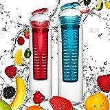 2 borracce da 800ml »FruitBottle« per bevande a base di frutta / verdura disponibili nei colori verde / lilla & blu / rosso. Il set convenienza con la borraccia sportiva perfetta in tritanio lavabile in lavastoviglie, con cappuccio extra-easy, blu / rosso