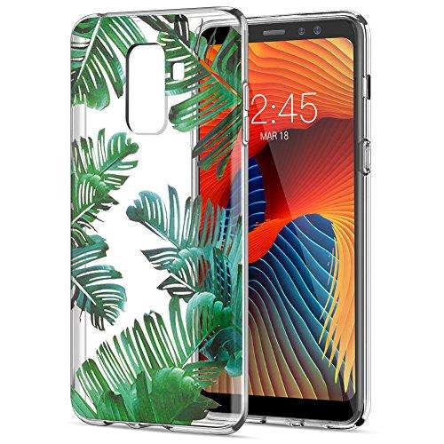 Cover Samsung Galaxy A8 2018, Eouine Ultra Slim Protective Cover Trasparente con Disegni, Morbido Antiurto 3d Cartoon Pattern Gel Bumper Case Custodia in TPU Silicone per Samsung Galaxy A8 (2018) 5.6-inch Smartphone (Le foglie)
