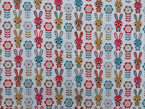 Prestige Motif lapins d'animation Design abstrait imprimé floral Poly coton tissu imprimé pour enfants Craft Tissu Robe fabrication de tissus/Craft de–par mètre, Polycoton, Rose, Per Metre